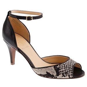 J. Crew Lara black snake-print peep-toe heels
